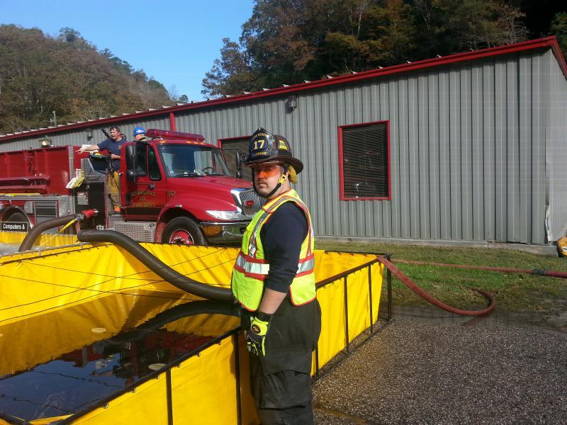 Lonnie Coagar, Alum Creek VFD, along with Nathan Slocum were critical in helping at the dump site