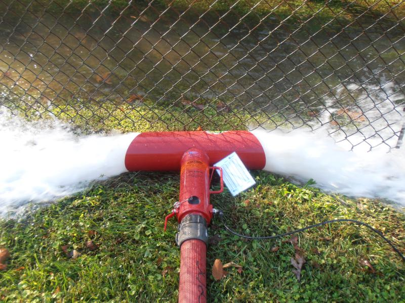 """A hose monster device with 2-1/2"""" tip was used to measure flow. This was fed by 125' of 3"""" hose."""