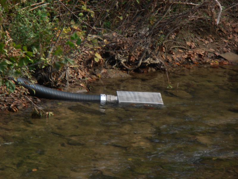 Firovac low level/ floating strainer in the water.
