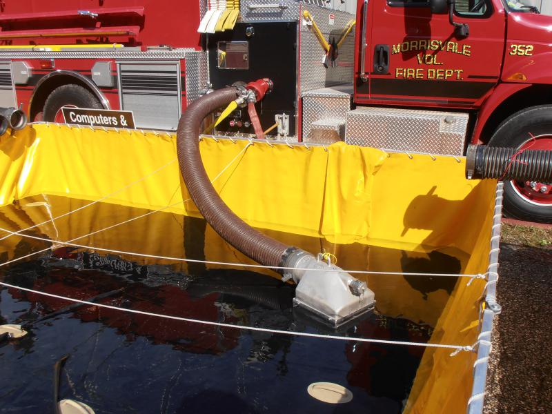 Strainer was used to feed the pumper, achieving 1,204 gpm while pumping 2 transfer lines!