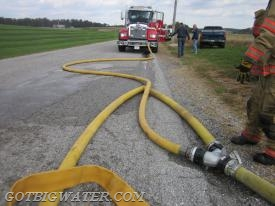 Although 3-inch hose was used at this water supply drill in York County, Pennsylvania, Tanker 7's front discharge is outfitted to support 5-inch LDH.