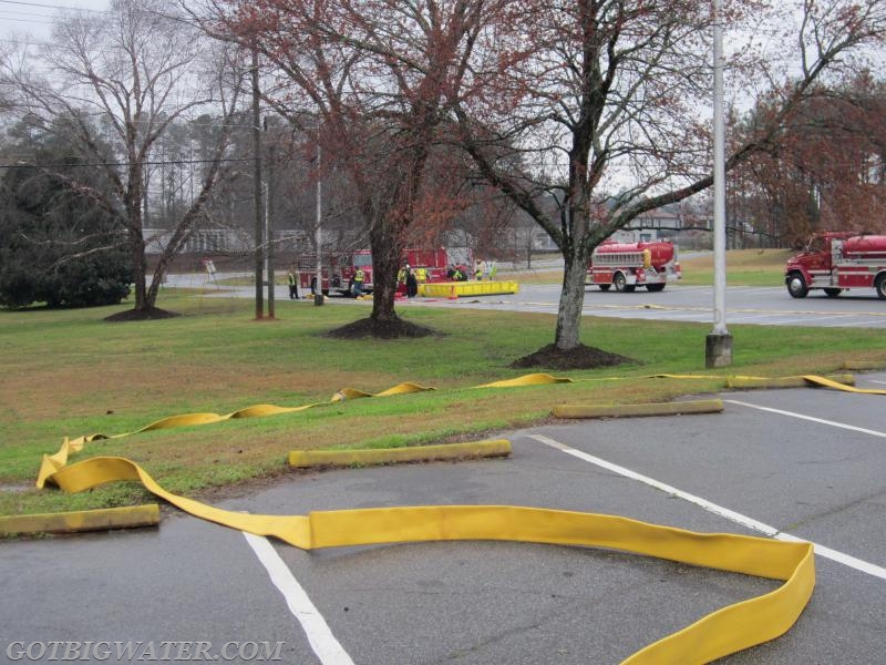 400-ft of 5-inch supply line is laid out by the attack engine.