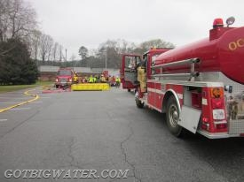 More tankers from the 1st Alarm assignment arrive on scene.