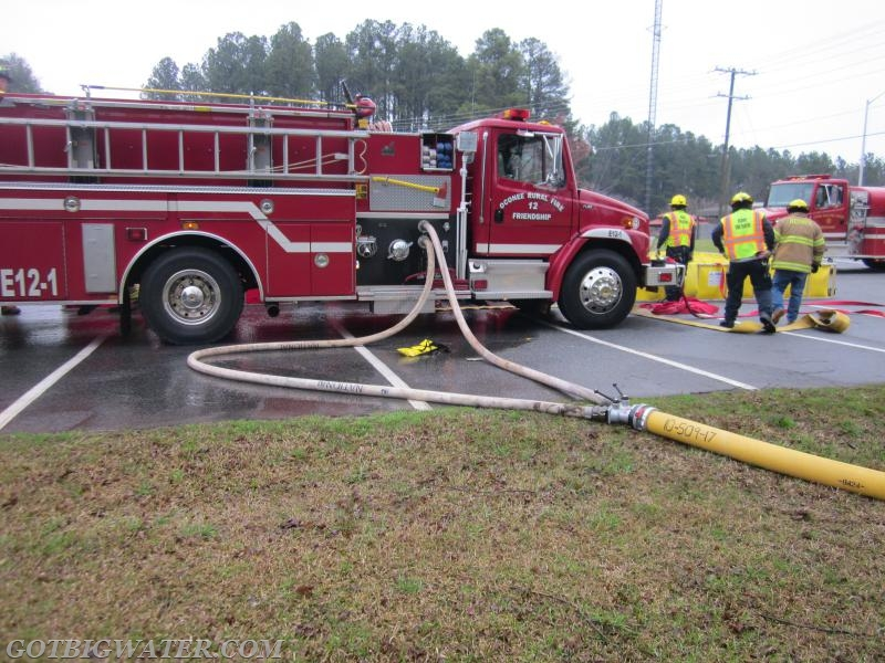 """Making it work! This LDH gated wye was used in a """"reverse"""" manner to aid this pumper in supplying 1,000 gpm to the attack pumper."""