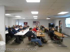 Saturday morning's classroom session in Swisher, Iowa reviewing the best practices of tanker shuttle operations.