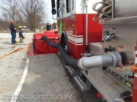 A Fol-Da-Tank 6-inch suction elbow in use during Saturday afternoon's practical session.