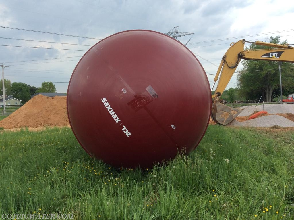 The 30,000-gallon tank is 10-feet in diameter and the final installation must be able to support a 1,000 gpm flow.