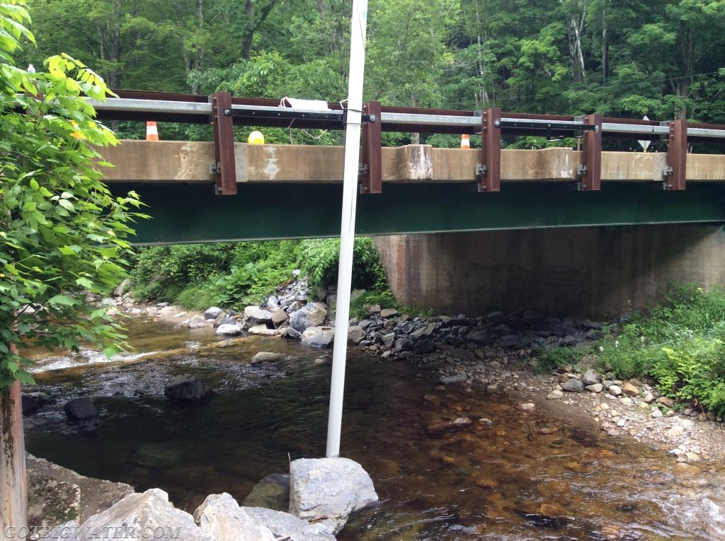 """When deployed, the pipe rests on the streambed, thus getting the length of the pipe """"right"""" is important.  The pipe is positioned, marked, and then cut to fit."""