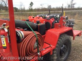 The trailer system also carries a few lengths of 5-inch LDH to support water supply operations.