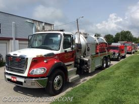 Bass Lake Tanker 14-85:   3000-gal vacuum tanker with 750 gpm pump and twin, 3000-gal dump tanks.
