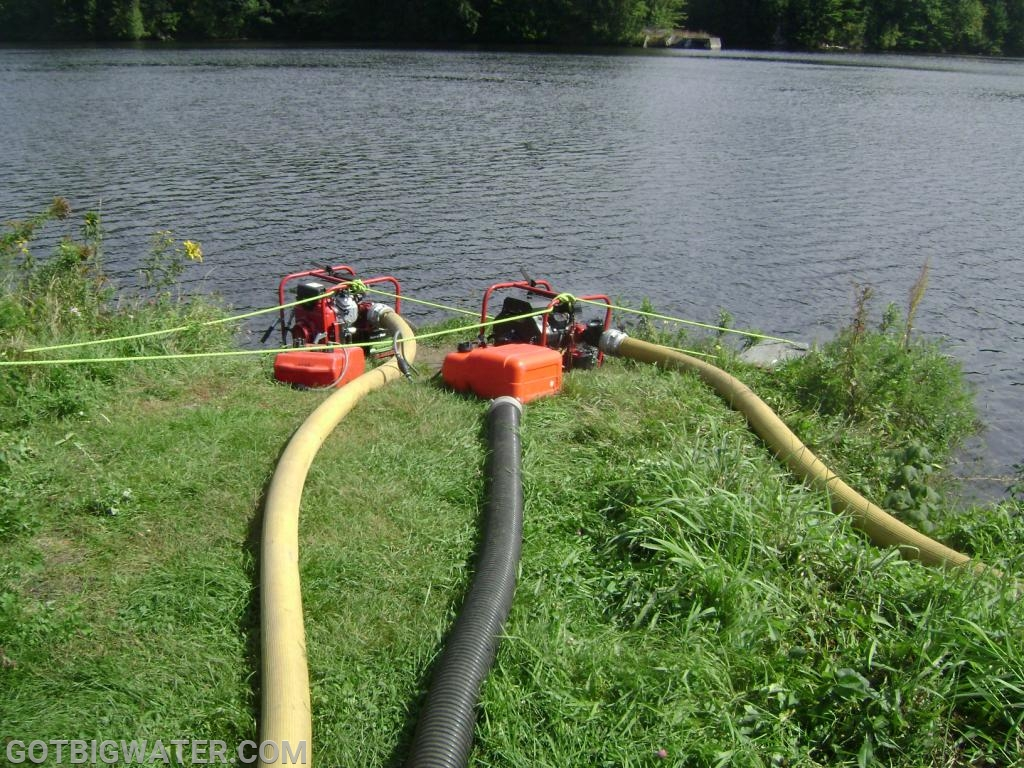 Dual, 400 gpm portable pumps are used to support an open-relay set-up for tanker loading operations.