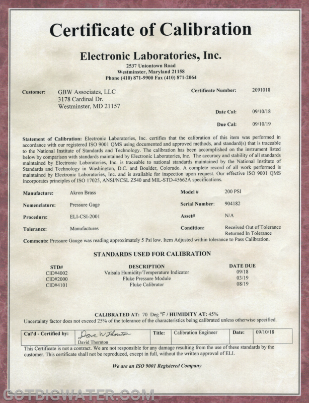 A sample Certificate of Calibration.