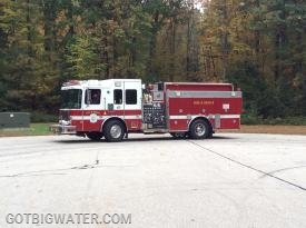 One of Dover's five pumpers. Each is equipped with a 1500 gpm pump, 1000-gal of water, and 1500 ft of 4-inch LDH.