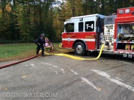 Tanker 4 completes a fire hydrant supply hook-up in one of the relay scenarios.