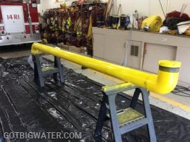 The pipe all assembled and painted and ready for transport to the installation site.