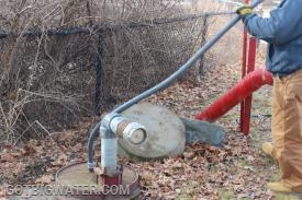 The dewatering pump provides a pressurized water source in an area with no fire hydrants.