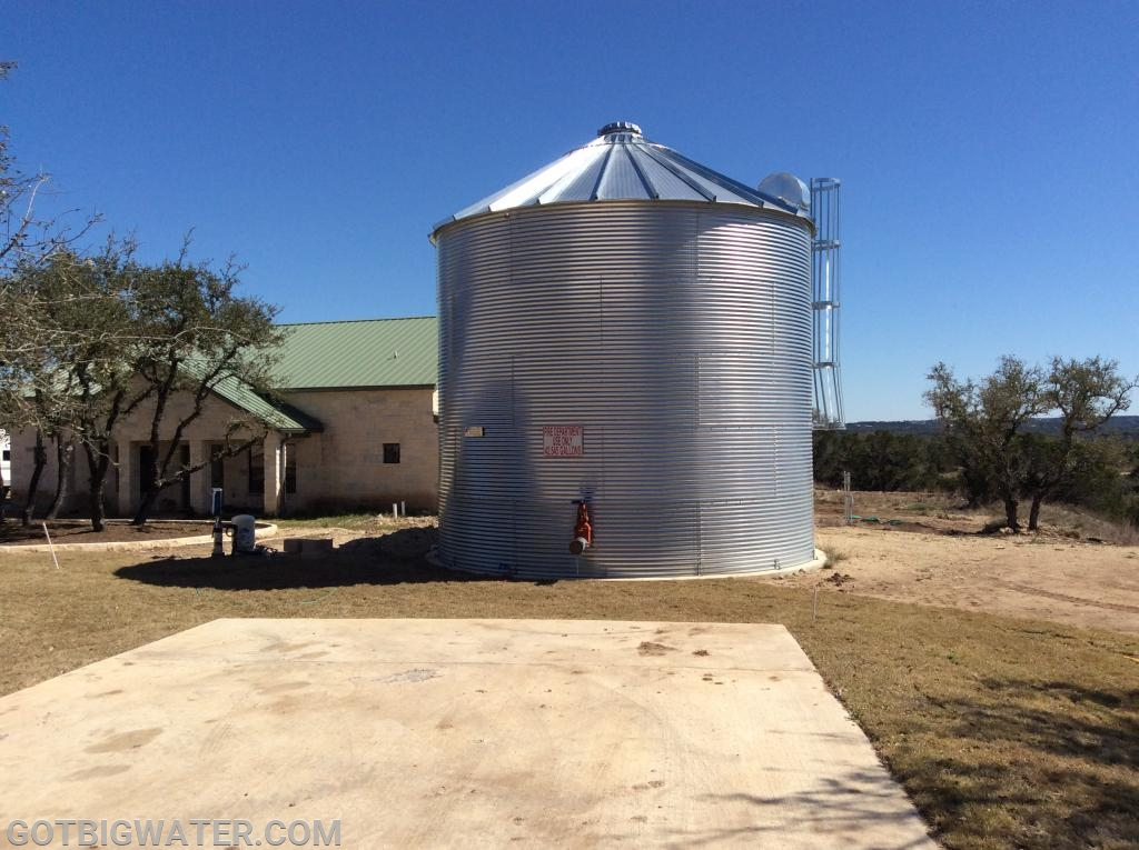 This 42,000-gallon above-ground tank is used to provide much needed fire protection water for an office complex in Hays County, Texas.