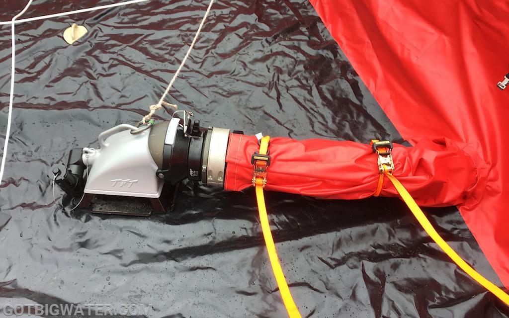 A through-the-drain-sleeve set-up.