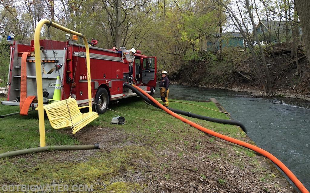 Fill Site #1 - Shortsville pumper drafts from the creek.