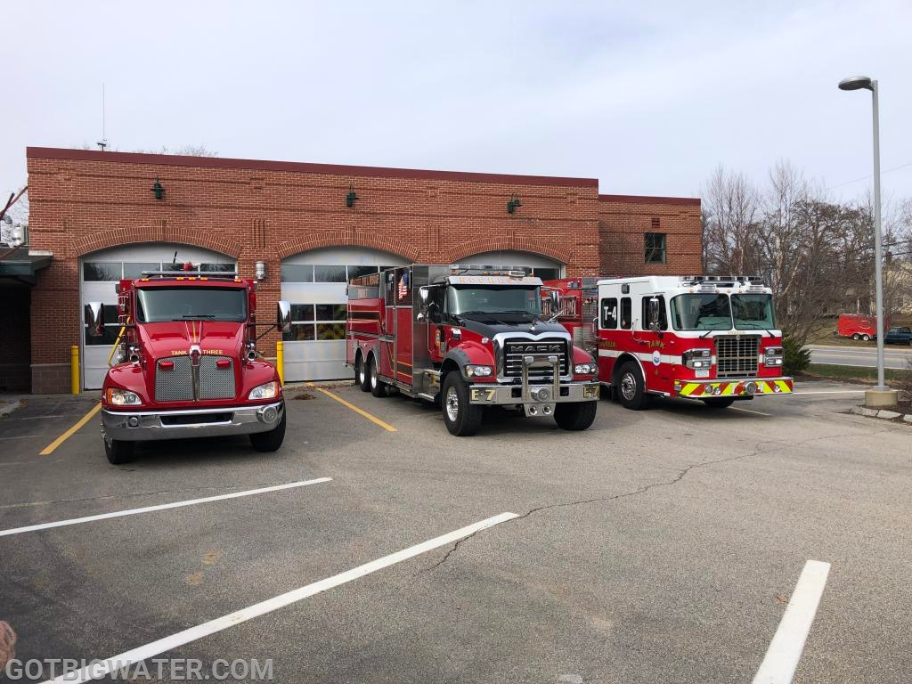 Mutual aid tankers hanging out at Dover Fire HQ.