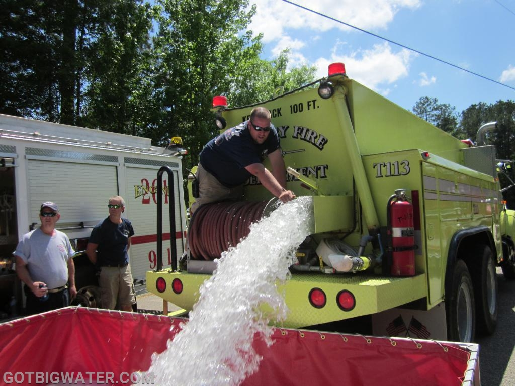 Shelby FD Tanker 113 dumps water just fine at the 2012 drill in Four Mile, AL.