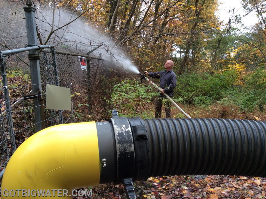 After back flushing, suction was taken and water was flowed using a small attack line.