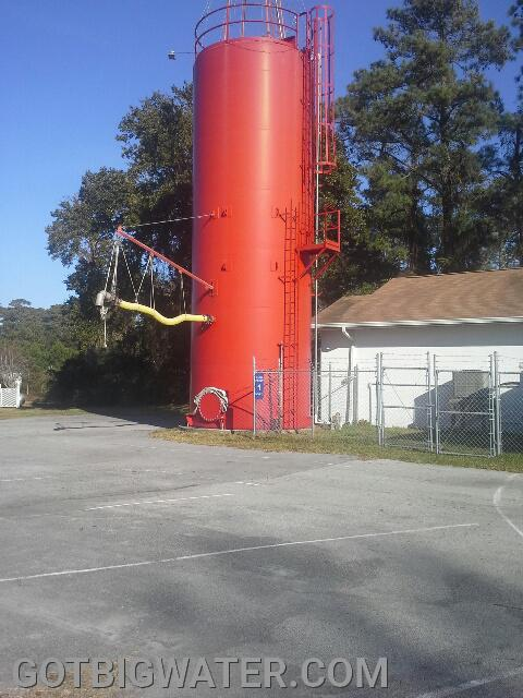 "This ""standpipe style"" tank at the Marshallberg firehouse is set-up for over-the-top filling of water hauling rigs."