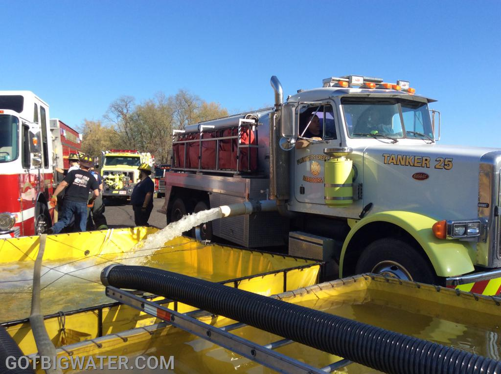 Four pumpers and eleven tankers were used to haul water over the two-hour time period. Two fill sites were used