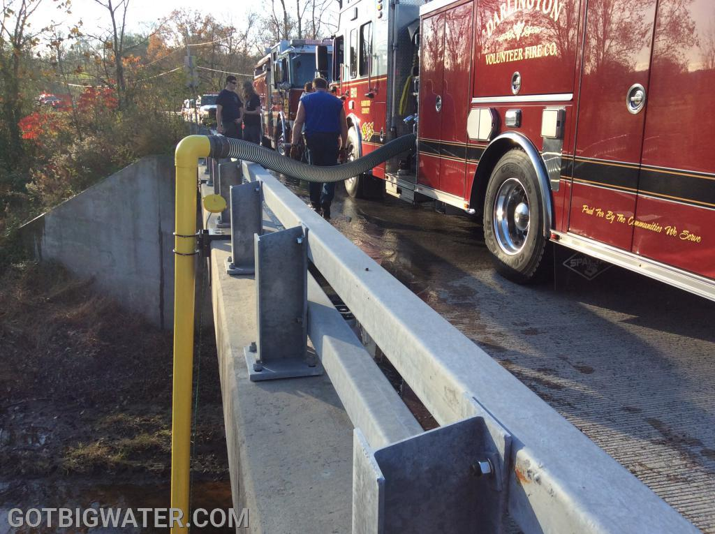 1,067 gpm at 19.5 feet of lift using a 1500 gpm pumper.
