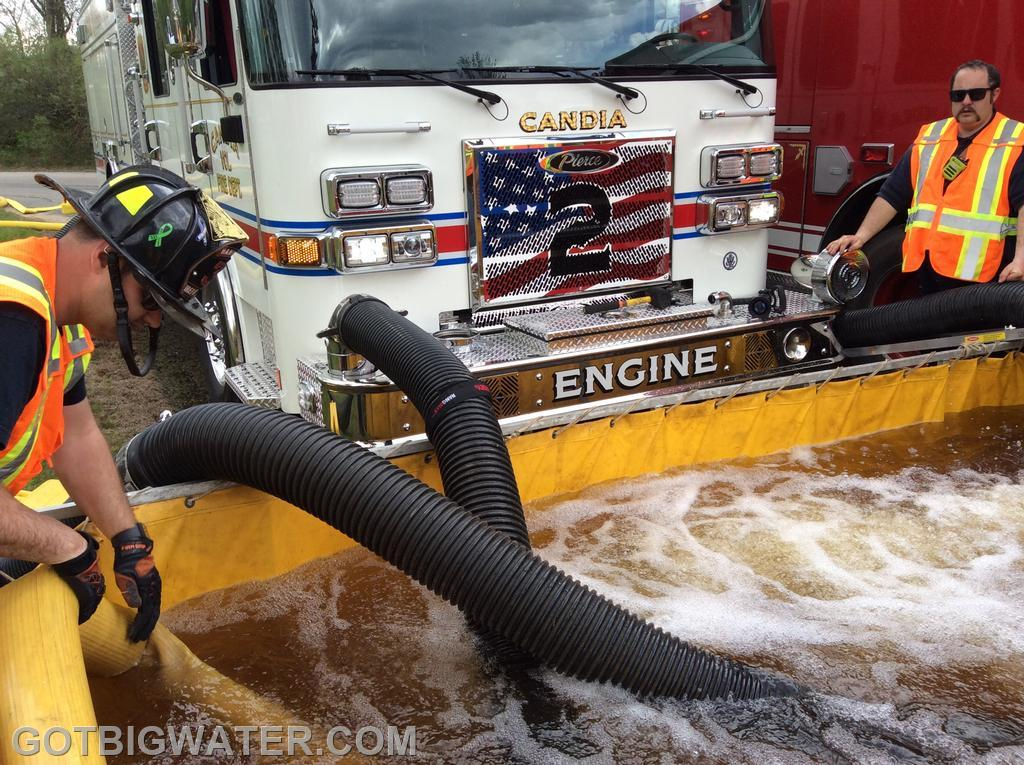 Candia Engine 2 uses three, 6-inch suction lines to take in as much water as possible.  The rig flowed 1000 gpm and powered 3 jet siphons.
