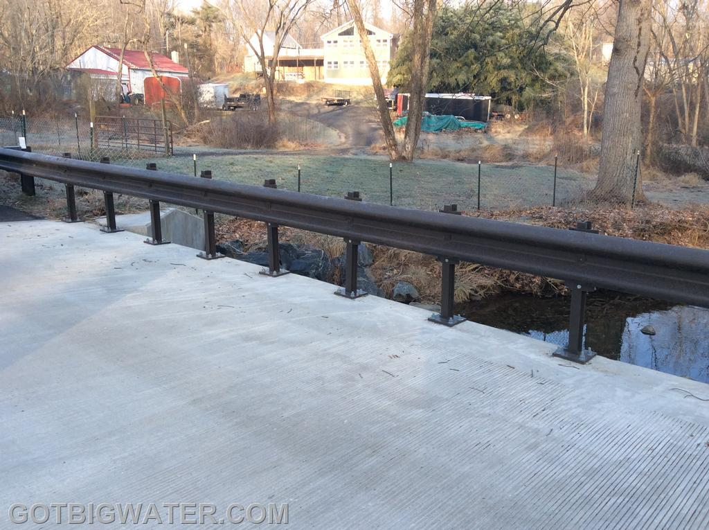 Bridge deck view. The guard rail system on this bridge used a new type of rail post