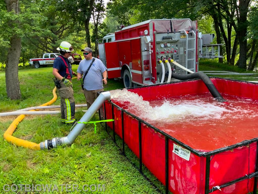A 1250gpm BME rear mount pumper in action.